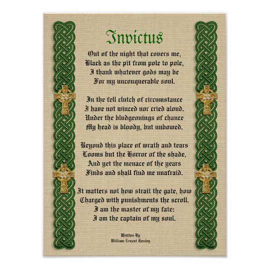 Invictus, Victorian poem Celtic Knots and crosses Poster