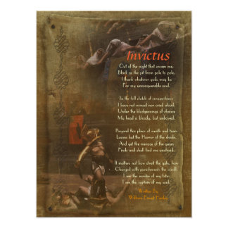 Invictus, Victorian poem,  William Ernest Henley Poster
