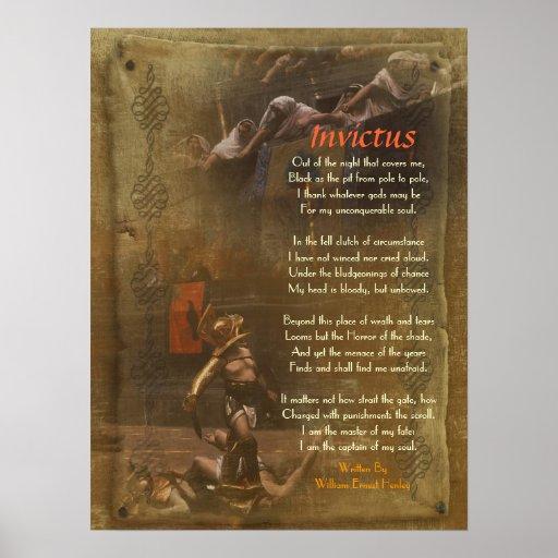 Invictus, Victorian poem,  William Ernest Henley Print
