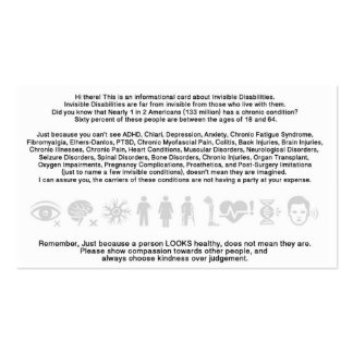 Invisible Disability Informational Card Pack Of Standard Business Cards