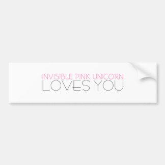 Invisible Pink Unicorn Loves You Bumper Sticker
