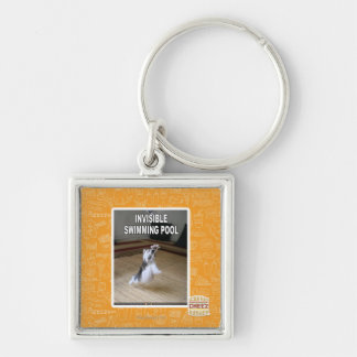 Invisible Swimming Pool Silver-Colored Square Key Ring
