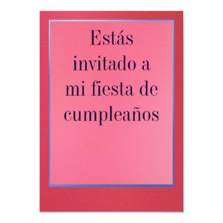 Invitación - Fiesta de Cumpleaños - Rosada y Roja 13 Cm X 18 Cm Invitation Card