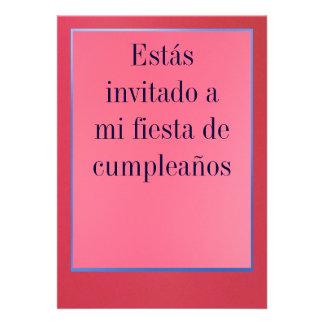 Invitación - Fiesta de Cumpleaños - Rosada y Roja Card