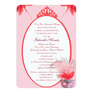 Invitación rosada de Quinceanera de la máscara 13 Cm X 18 Cm Invitation Card