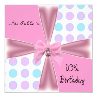 "Invitation 10th Birthday Spots Pink Mauve Blue Bow 5.25"" Square Invitation Card"