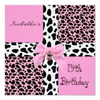 Invitation 14th Teen Birthday Wild Pink Cow Animal