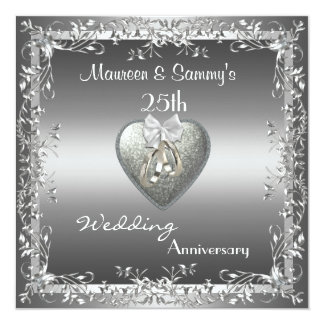 Invitation 25th Anniversary Wedding Silver Elegant