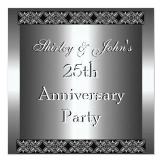 Invitation 25th Wedding Anniversary Party Silver Custom Invites