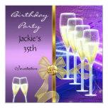 Invitation 35th Birthday Party Elegant Purple Gold Custom Invitation