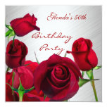 Invitation 50th Birthday Party Red Roses White