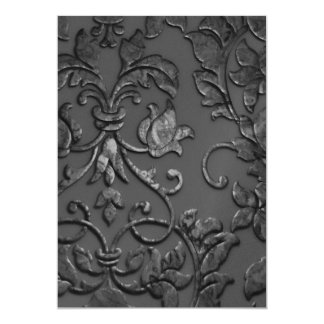 Invitation 5x7 Embossed Look Damask Charcoal