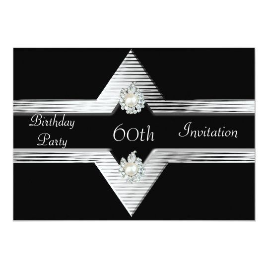 Invitation 60th Birthday Black Silver Jewel