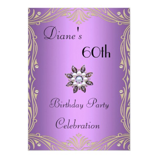 Invitation 60th Birthday Floral Mauve Pearl Jewel