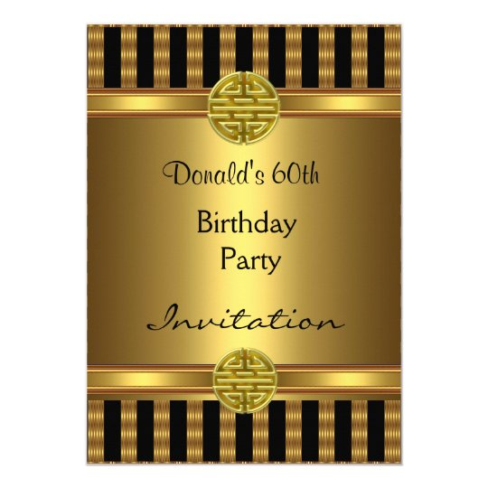 Invitation 60th Birthday Party Black Gold Mens