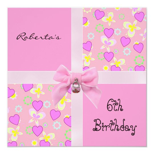 Invitation 6th Birthday Pink Hearts Bow Girl