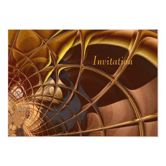 "Invitation Abstract Art Golden Weave 5"" X 7"" Invitation Card"