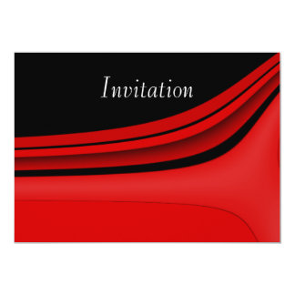 Invitation Abstract Art  Red Black Modern