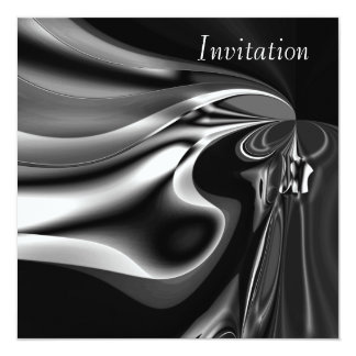 Invitation Abstract Art Silver Melting Moment