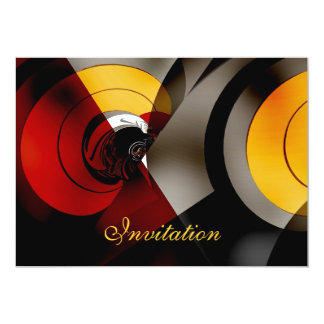 Invitation Abstract  Lunar Space Red Yellow Black