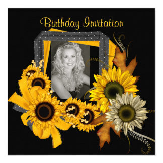 Invitation Add Photo Sunflower Yellow Flower Frame
