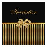 Invitation All Occasion Gold Black Stripe Gold Bow