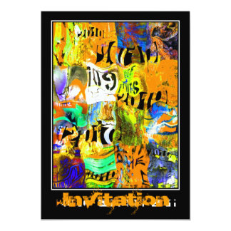 "Invitation All Occasion Street Art Abstract Urban 5"" X 7"" Invitation Card"