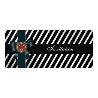 Invitation All Occasions Black white stripe Red je