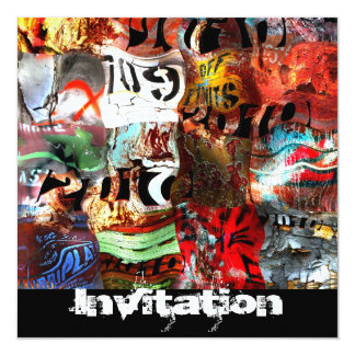 "Invitation All Occasions Street Art Abstract A3 5.25"" Square Invitation Card"