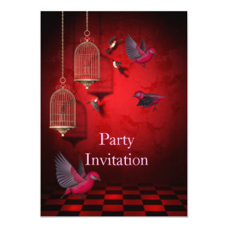 Invitation Birds Free Party Invite Red Pink