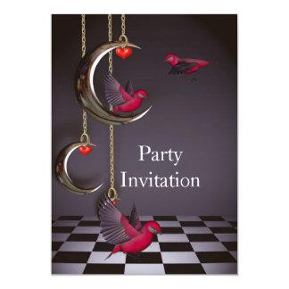 Invitation Birds Free Party Invite Red Pink Black