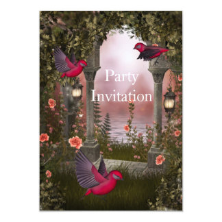 Invitation Birds Free Party Invite Red Pink mystic