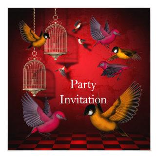 Invitation Birds Free Party Invite Red Pink Orange