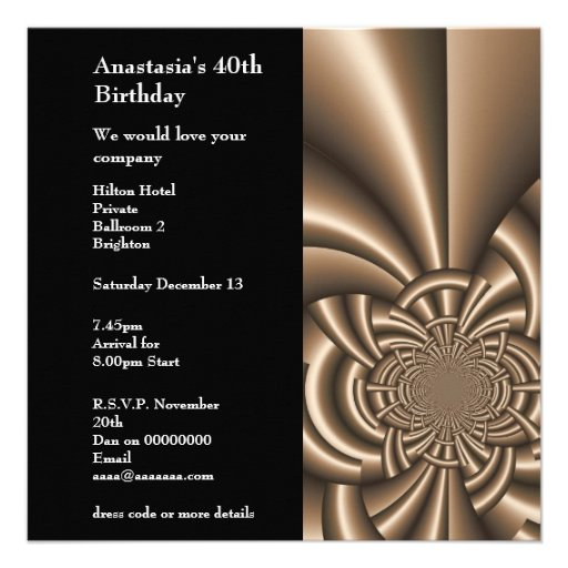 Invitation Birthday Abstract Coffee On Black Personalized Announcements