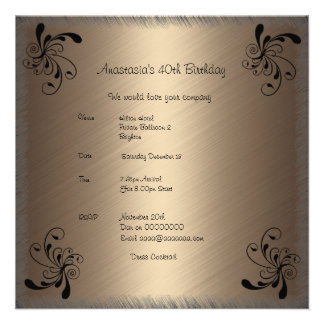 Invitation Birthday Coffee Black Floral 2 Announcements
