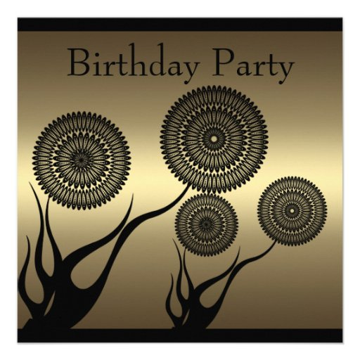 Invitation Birthday Coffee & Black Floral Trim Lar Personalized Invitation