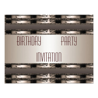 Invitation Birthday Coffee Gold Art Deco Floral Announcements