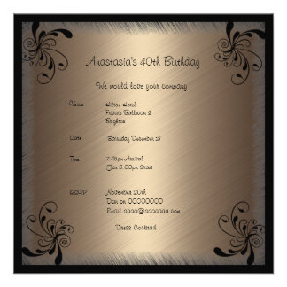 Invitation Birthday Glamour Coffee Black Floral 2 Personalized Invites