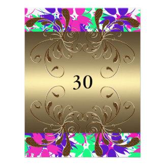 Invitation Birthday Gold Floral Glam Personalized Invitation
