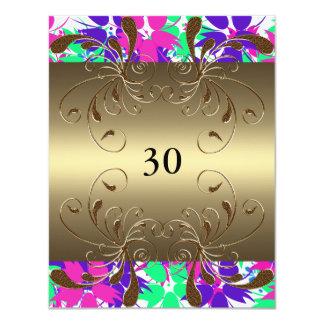 "Invitation Birthday Gold Floral Glam 4.25"" X 5.5"" Invitation Card"