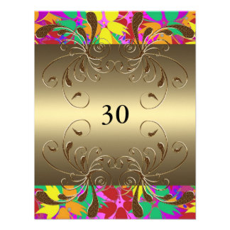 Invitation Birthday Gold Floral Glam Custom Invite