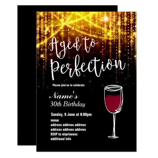 invitation,Birthday Party, aged to perfection wine Card