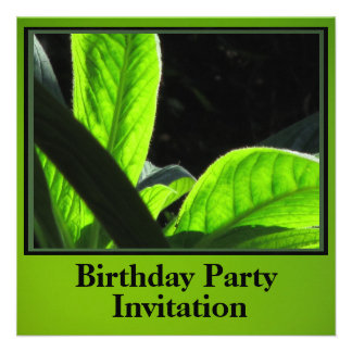 Invitation - Birthday Party - Green Leaves