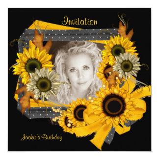 Invitation Birthday Photo Sunflower Frame