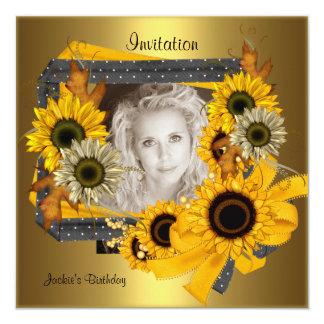 Invitation Birthday Photo Sunflower Gold Frame