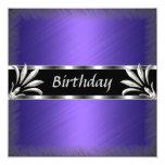 Invitation Birthday Purple Silver Floral Custom Invitation