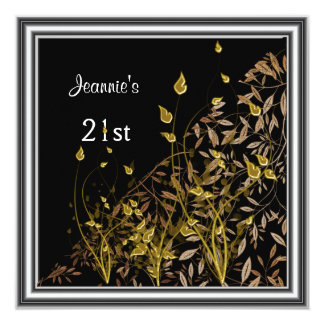 "Invitation Black gold leaves 21st Birthday Party 5.25"" Square Invitation Card"
