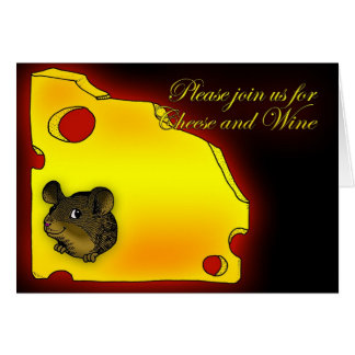 Invitation Cheese and Wine Party cute little mouse Greeting Card