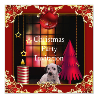 Invitation Christmas party Red Dog Dalmation