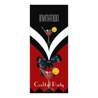Invitation Cocktail Party Red Black White Tie Bow Custom Announcements